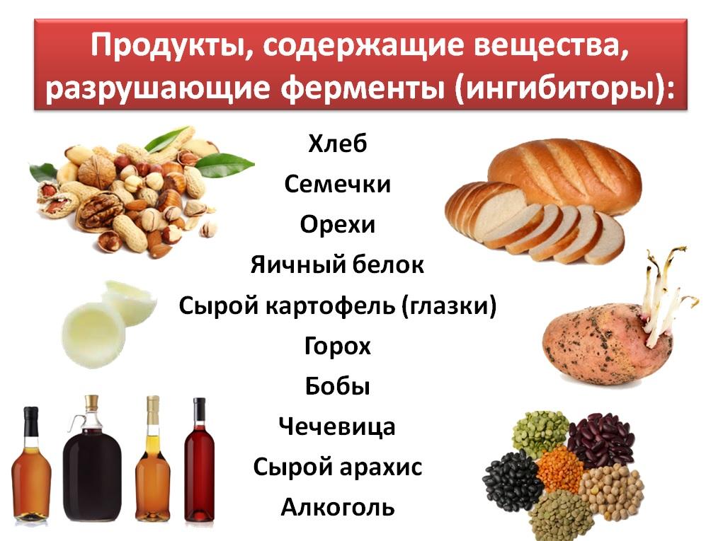 Продукты, разрушающие ферменты